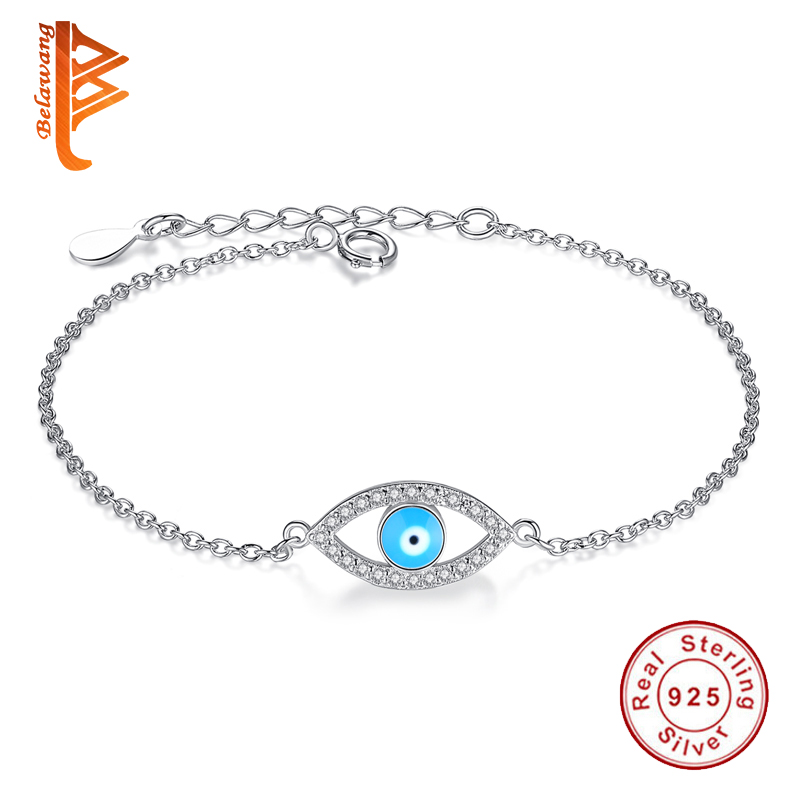Luxury 925 Sterling Silver Blue Lucky Eye Charm Bracelets For Women Clear CZ Link Chain Bracelets Fashion Turkish Jewelry