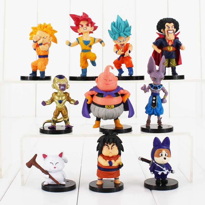 10 pçs/lote Dragon Ball Z Figura Brinquedo Goku Buu Vegeta Frieza Super Saiyan Deus Hercule Beerus Whis Anime DBZ Mini Modelo da casa de Bonecas