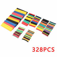 328PCS/lot Heat Shrinkable tube termoretractil PVC Insulation Shrink Assortment Polyolefin Ratio 2:1 Wrap Wire Cable Sleeve Kit