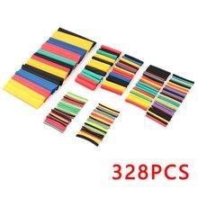 328PCS/lot Heat Shrinkable tube termoretractil PVC Insulation Shrink Assortment Polyolefin Ratio 2:1 Wrap Wire Cable Sleeve Kit