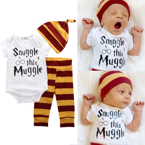 3Pcs Snuggle this Muggle Newborn Baby Boy 0-18M Cotton Top Rompers/T-shirt + Striped Pants Leggings + Hat Outfits Clothes Sets