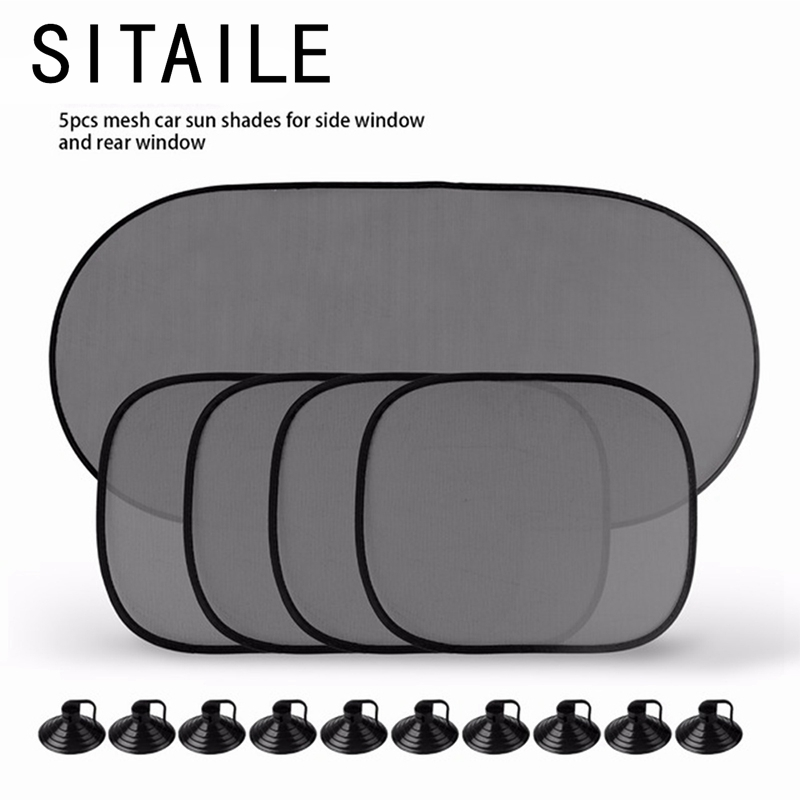 SITAILE 5 Pc/Set Auto Sun Visor Car Sun Shade Car Window Suction Cup Car Curtain Auto Sun Shade Car Styling Covers Sunshade футболка стрэйч printio los angeles kings nhl usa