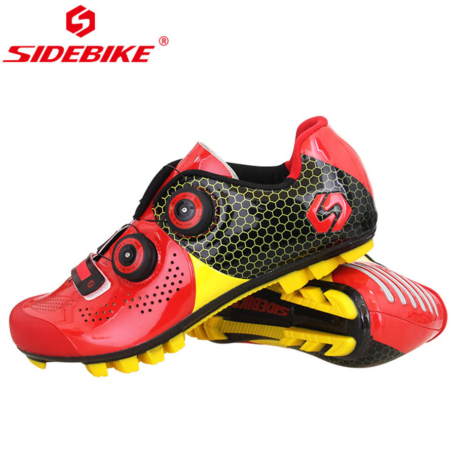 SIDEBIKE Mountain MTB Cycling Shoes Bike Ultra light carbon fiber Sole Self-Locking Bicycle Sport Shoes Zapatillas Ciclismo RED ievele carbon fiber cycling bicycle crank mountain bike crankset length 170mm 175mm ultra light bcd 104mm mountain mtb bike part