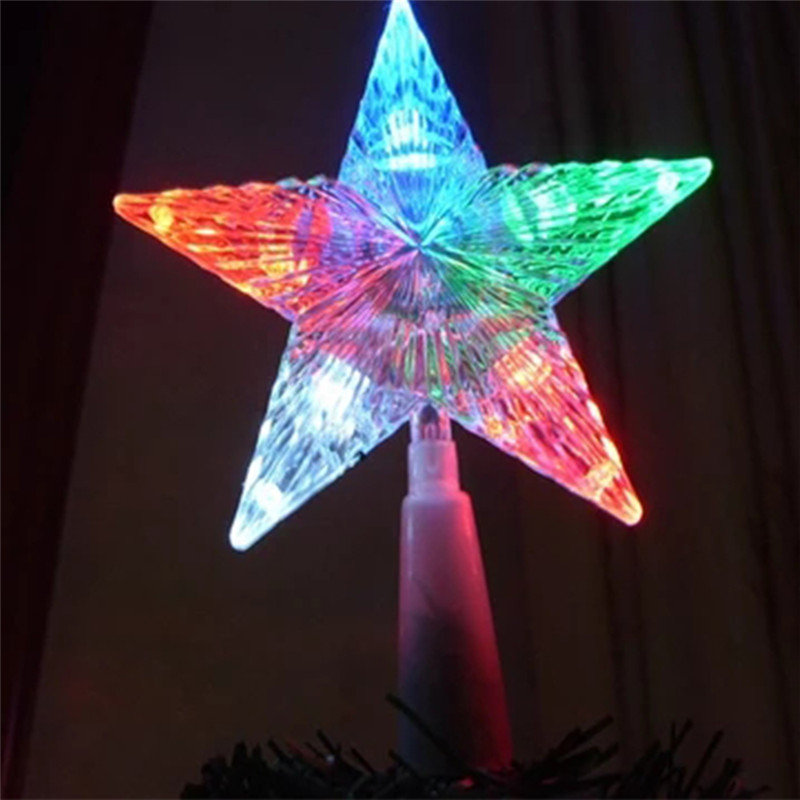 1PC Flashing Star Color Changing Lamp Super Bright Xmas Christmas Tree Wedding Party Topper Star Decoration Light