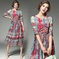 Мода 2017 украина женщины лето dress Vintage style plus size dress O-образным Вырезом chffion офиса печати A-Line сексуальная бальные платья