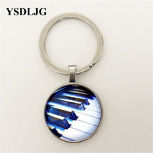 Piano Keys Glass Dome Pendant Chain Necklace (Music Gift)