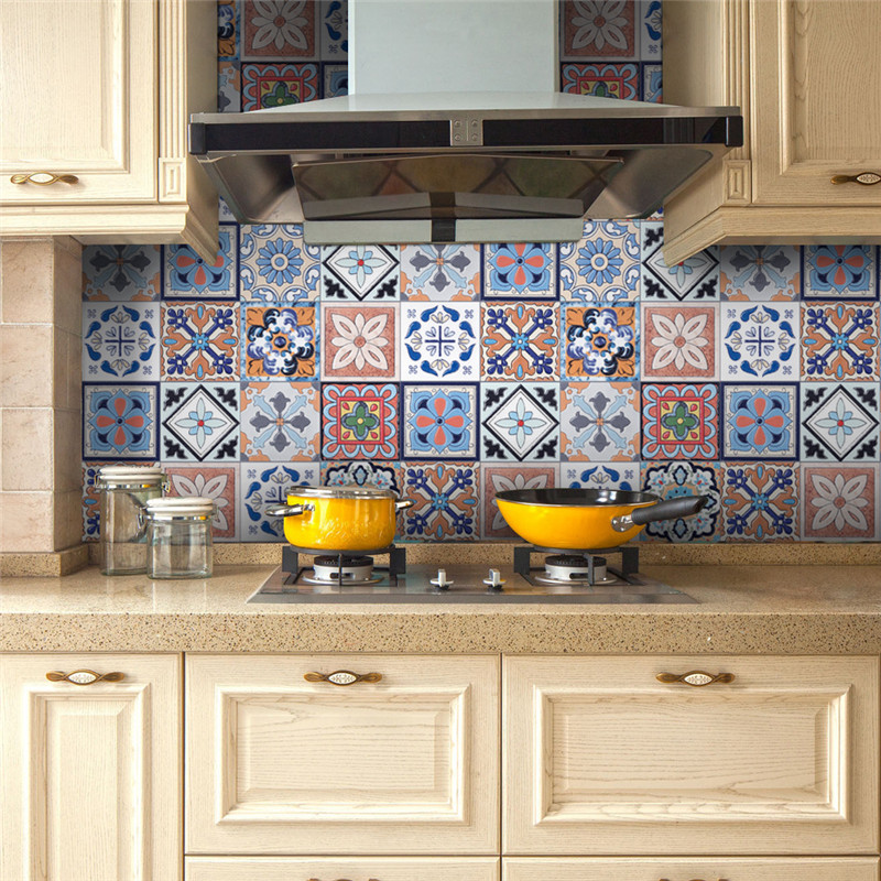 Kitchen Wall Groupings: 5M DIY Tiles Stickers 3D Retro Vintage Flowers Bathroom