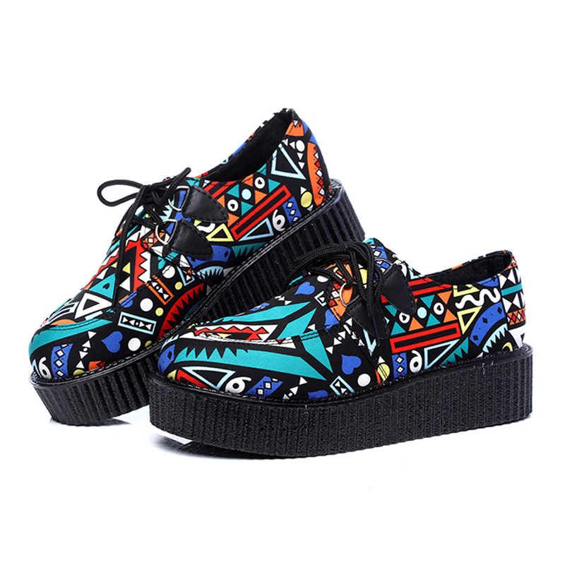LAKESHI Frauen Schuhe Creepers Frauen Casual Schuhe Flache Plattform Schuhe Erhöhen Runde Kappe Weibliche Schuhe Schwarz Große Größe 41