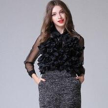 HIGH QUALITY New Fashion 2017 Designer Top Blouse Women's Long Sleeve Ruffle Flower Appliques Summer Blouse Shirt