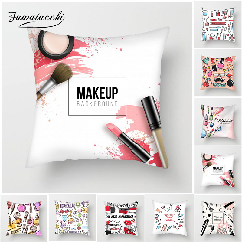 Fuwatacchi Hand Painted Makeup Cushion Cover Lipstick Perfume Bottles Eye Shadow Pillow Cover for Sofa Home Chair Pillowcases in Cushion Cover from Home Garden