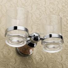 Отличная серия Solid медь латунь + стекло хром двойной Зубная Щетка чашка чашка держатель Зубной Щетки чашки аксессуары Для Ванной Комнаты