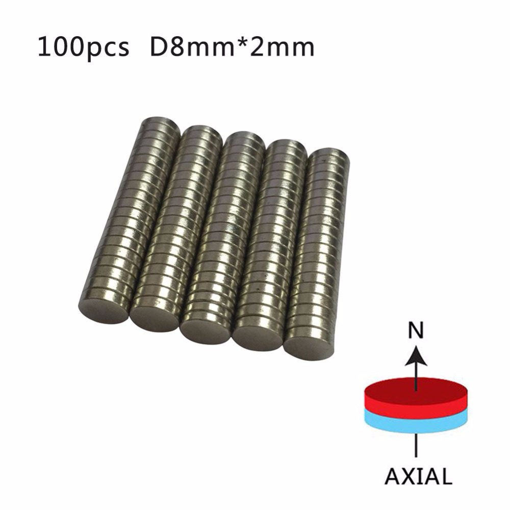 Strong 10/20/50/100pcs Rare Earth NdFeB Magnet 8*2 mm Neodymium N50 Disc Magnets Round Cylinder Sheet Fridge 8*2mm image