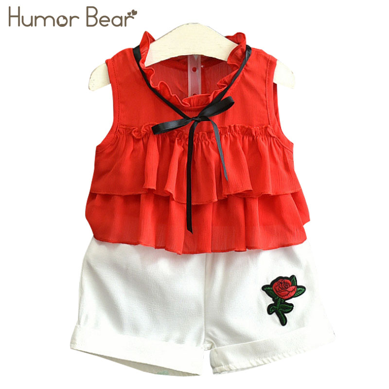 Humor Bear Kids Clothes 2018 New Summer Girls Clothing Sets T-Shirt +Short Pants 2Pcs Suit Brand Children Clothes Baby Clothing