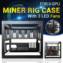 Open Air 6GPU Frame Mining Miner Rig Case with 3 LED Fans for ETH BTC Ethereum DIY Mining Machine