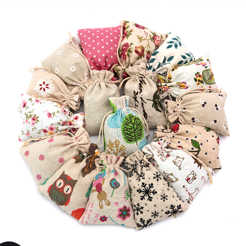 Wholesale 50pcs/lot Colorful Design Cotton Bags 10x14cm Small Wedding Linen Gift Bag Cute Charms Jewelry Packaging Bag Pouches
