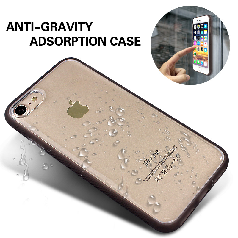 Anti-Gravity Adorption Case for Samsung S9 S8 Plus for iPhone X 8 7 6s Plus 5s se Magical Anti Gravity Nano Suction Phone Cover