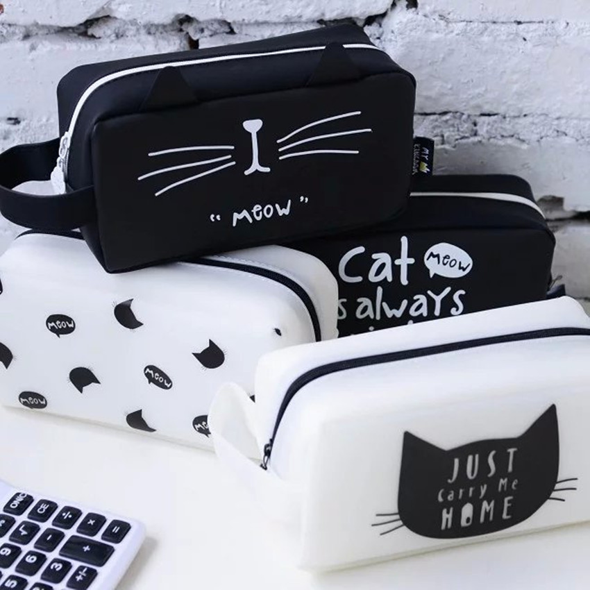 Large Capacity Black White Cat Pencil Case , Kawaii Cat Zippered Pencil Bag For Kids