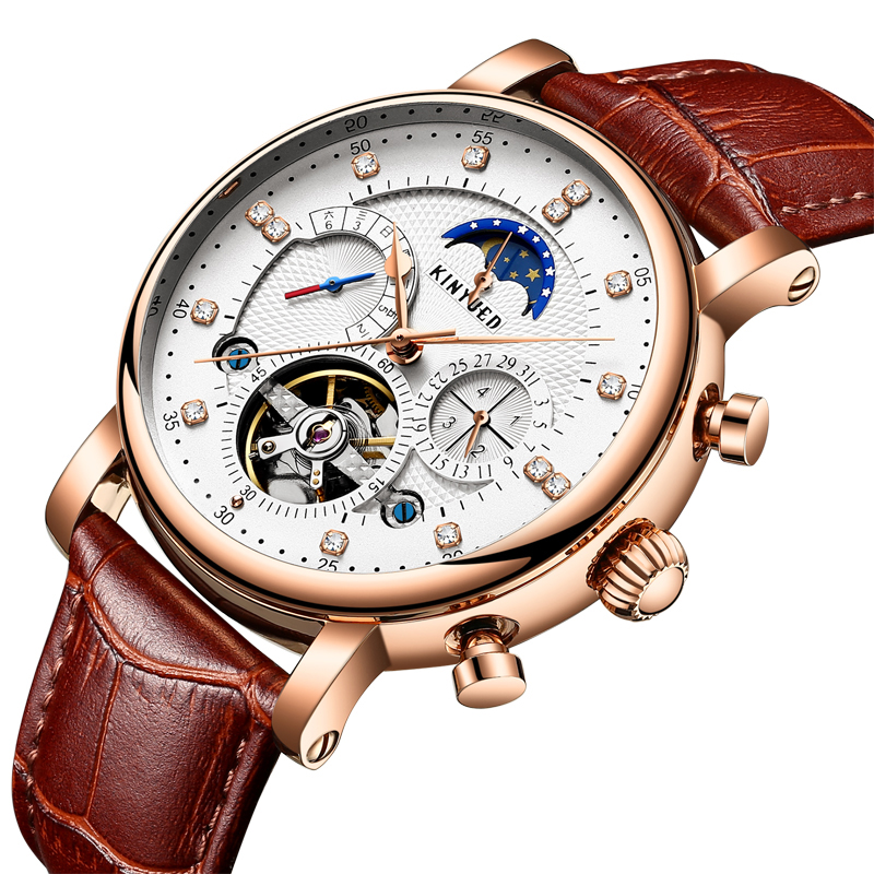 Gold White Case Automatic Watch Auto Date Moon Phase Mens Watches Skeleton Mechanical Sports Business Dress Calendar WriatwatchGold White Case Automatic Watch Auto Date Moon Phase Mens Watches Skeleton Mechanical Sports Business Dress Calendar Wriatwatch