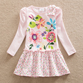 Girls dress 2017 baby&kids new Spring Festiva sweet girl tutu printed cotton long sleeve children dress and free shipping LH5795