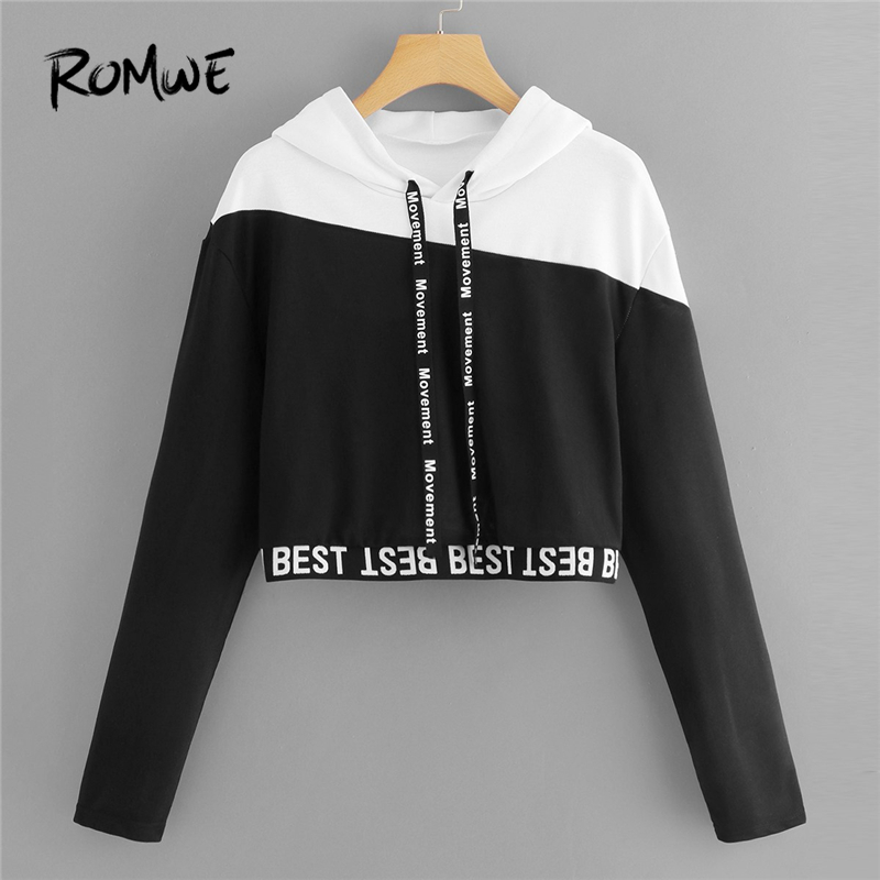 ROMWE Black And White Letter Tape Color Block Crop Sweatshirt Women Casual  Autumn Womens Fashion Hooded Pullovers Hoodie