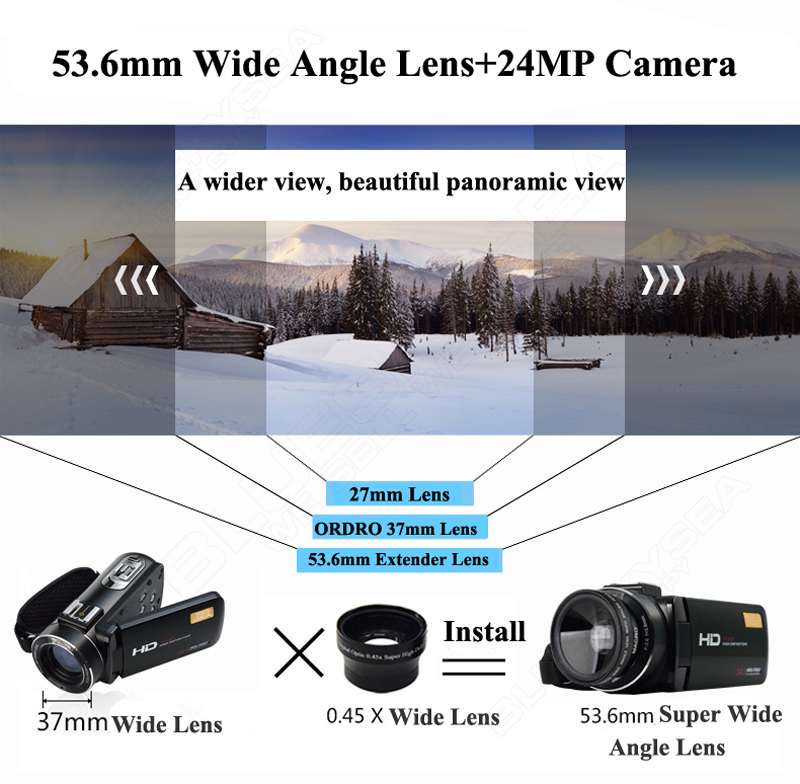 ORDRO Digital Video Camcorder Camera 1080P 24MP+0.45X Wide Lens+2X Teleconvertor Free shipping 5