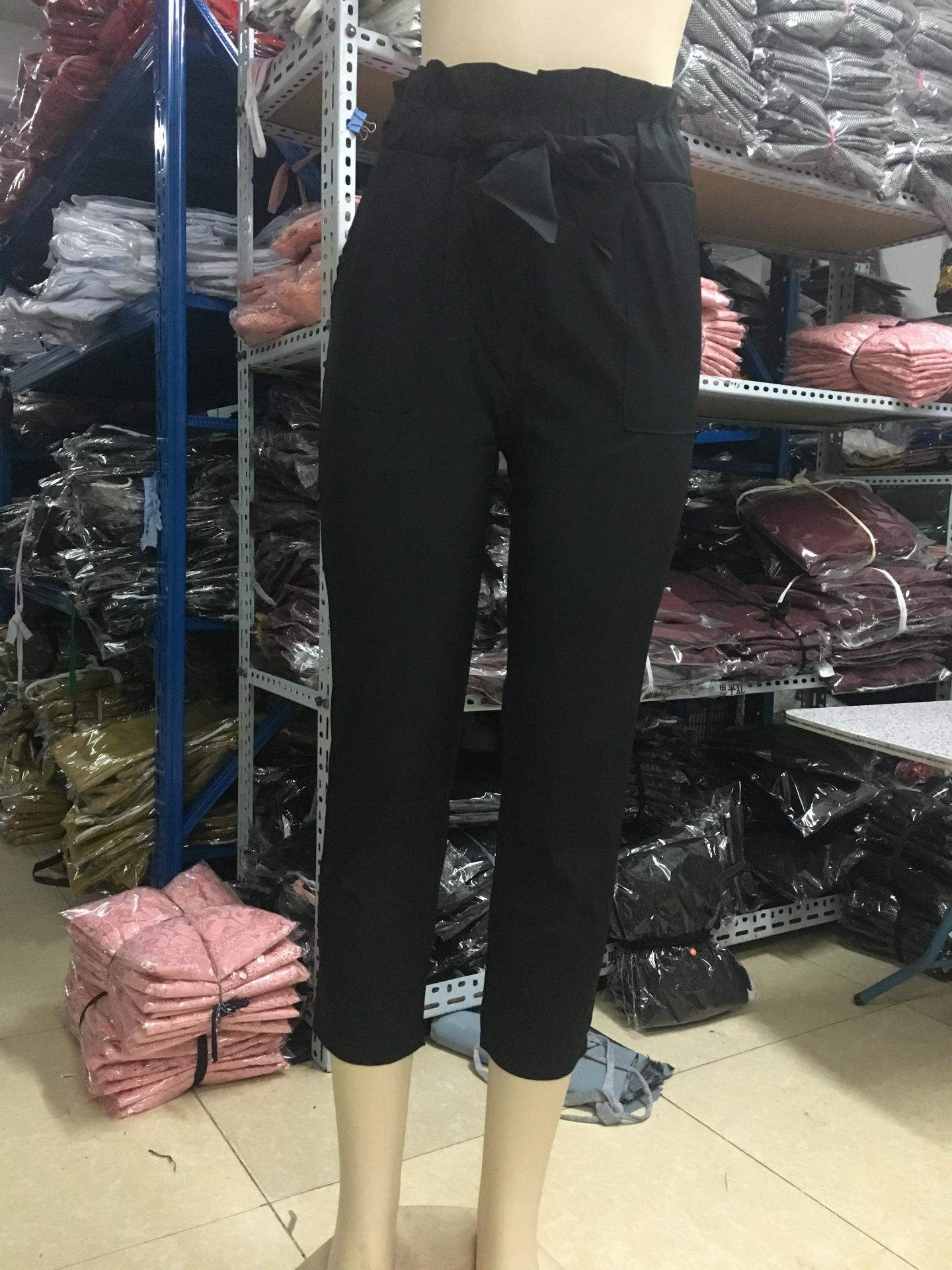 19 New Brand High Elastic Waist Harem Pants Women Spring Summer Fashion Ninth Pants Female Office Lady Black Trousers Belt 13