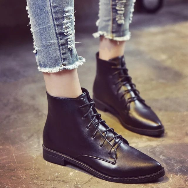 New Fashion Womens Lace Up Pu Leather Wedge Heel Ankle Pointed Toe British Boots