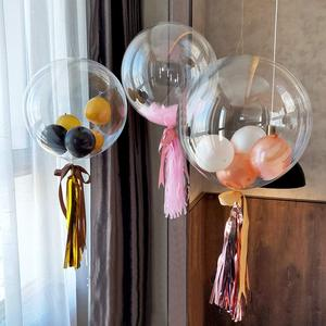 Image 3 - 10pcs 12/18/20/24 inch 빛나는 투명 Bobo 버블 Ballons 크리스마스 웨딩 생일 파티 장식 헬륨 풍선