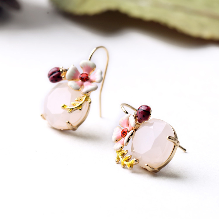 2015 Ljeto Novi dizajn Slatki naušnica cvijet emajl Ladybug Okrugli - Modni nakit - Foto 4