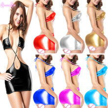 Halter Hot Erotic Sexy Leather PVC Latex Cotillon PU Dress Wetlook Babydoll Sleepwear Clubwear Lingerie Costumes Lenceria Porno