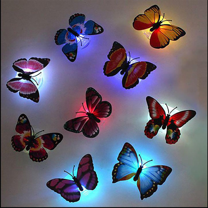 5 Pcs Night Light Lamp With Suction Pad Colorful Changing Butterfly Led Night Light Lamp Home Room Party Desk Wall Decor 100% Original Led Night Lights