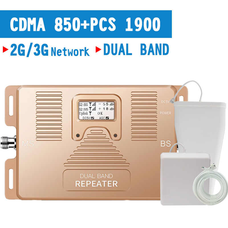 Walokcon 3G Mobile Phone Signal Booster CDMA 850 PCS 1900 Mhz Dual Band Signal Repeater GSM 3G Amplifier 70dB Gain LCD Display