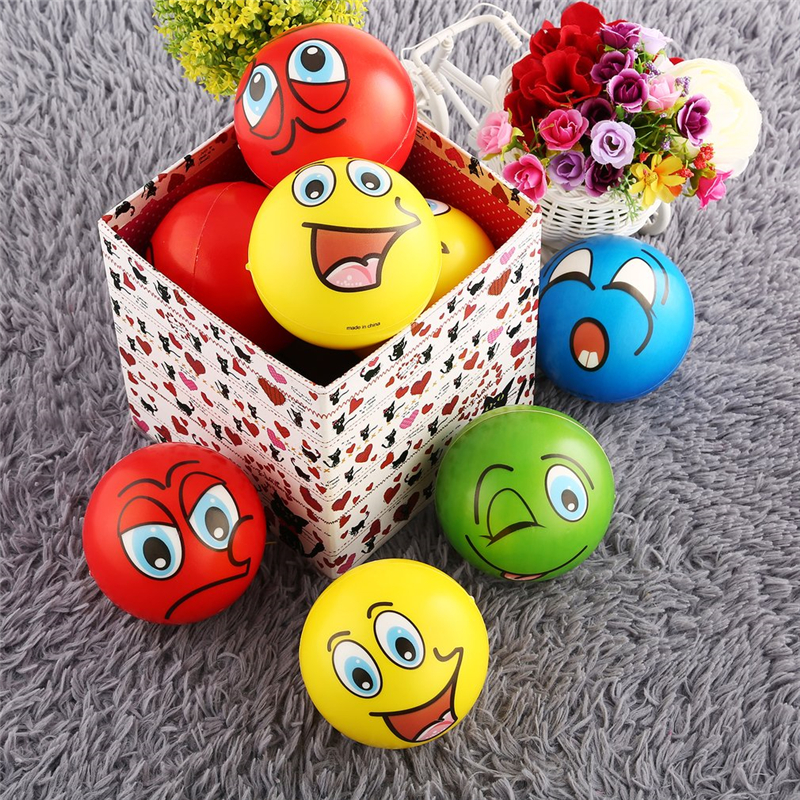 INBEAJY New Quality 6.3cm 12PCS Facial Expression Stress Relief Sponge Foam Balls Hand Squeeze Toy For Kids