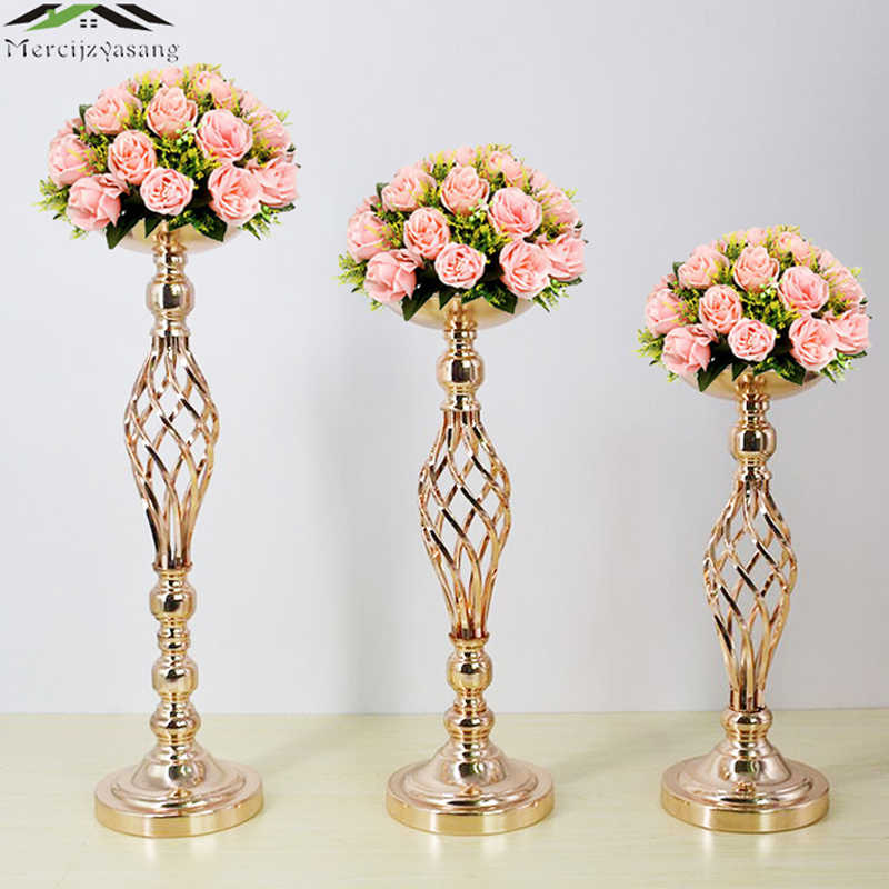 10PCS/LOT Metal Candle Holders Flower Vases Gold Road Lead Table Centerpiece Stand Pillar Candlestick For Wedding Candelabra 49