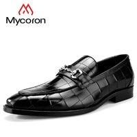 Mycoron летние дышащие ручной работы трещины узор Туфли из натуральной лаковой кожи мужские Деловые повседневные туфли zapatillas hombre Casua
