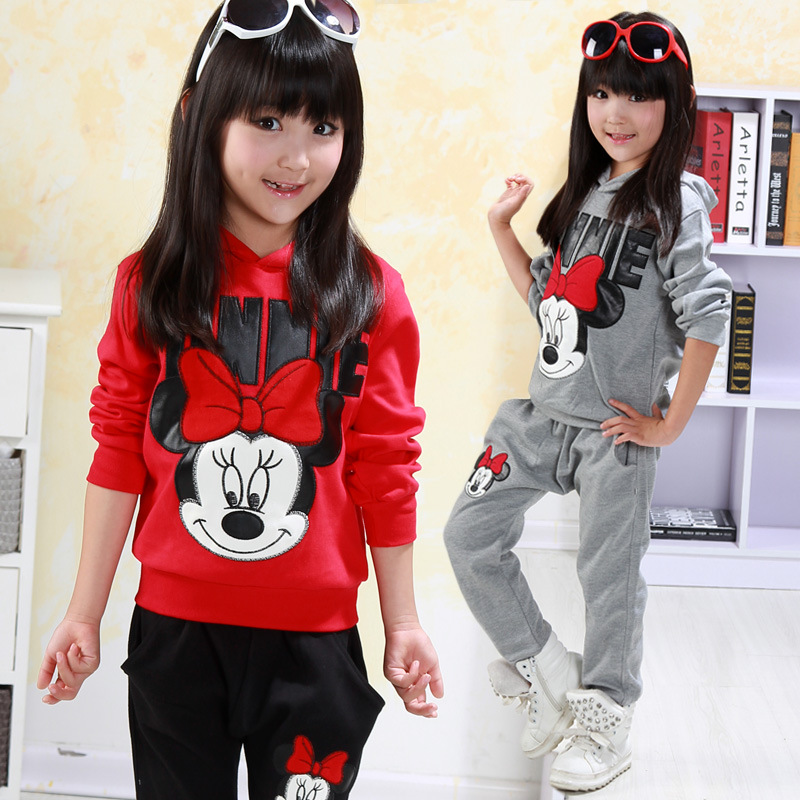 Girl Clothes Set Minnie Outfits Tracksuit Spring Autumn Cotton Minnie Mouse Outfits 2Pcs Clothes Set Long Sleeve Top+Pants 3-7Y 2017 new style spring autumn hoodie baby girl clothing set sequin lace long sleeve velour sports jacket long trousers outfits