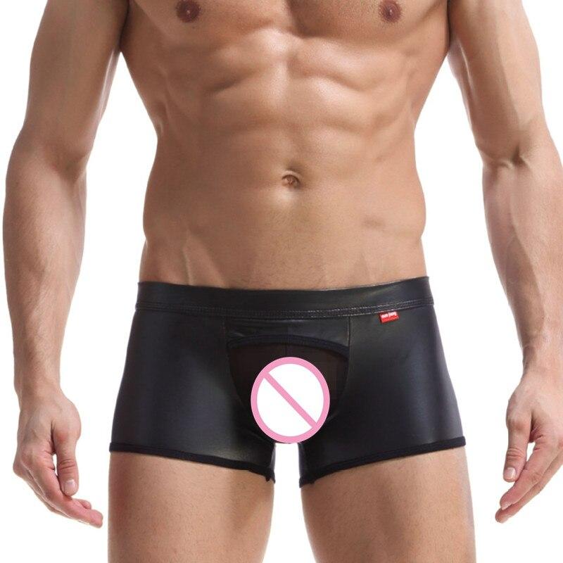 Men Boxers Ga Underwear PU Leather Mens Boxer Shorts Man Underwea Male Underwear Underpants Men's Underwear Hoop Hollow Out