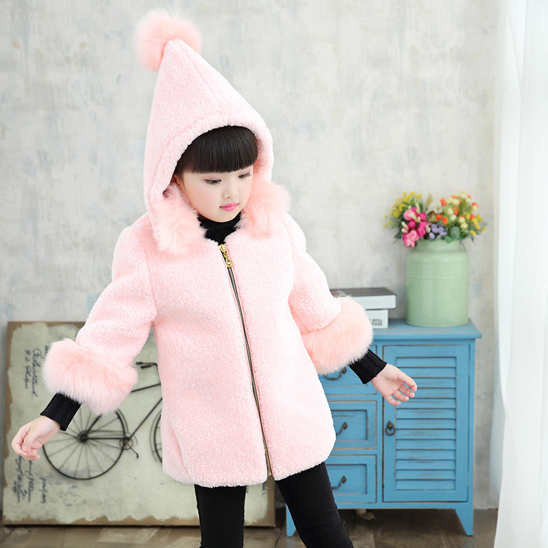 купить Faux Fur Girls Jackets Thick Cotton White Fur Long Coat Girl Hooded Jacket Winter Kids Boutique Clothes Zipper Outerwear Red по цене 4067.61 рублей