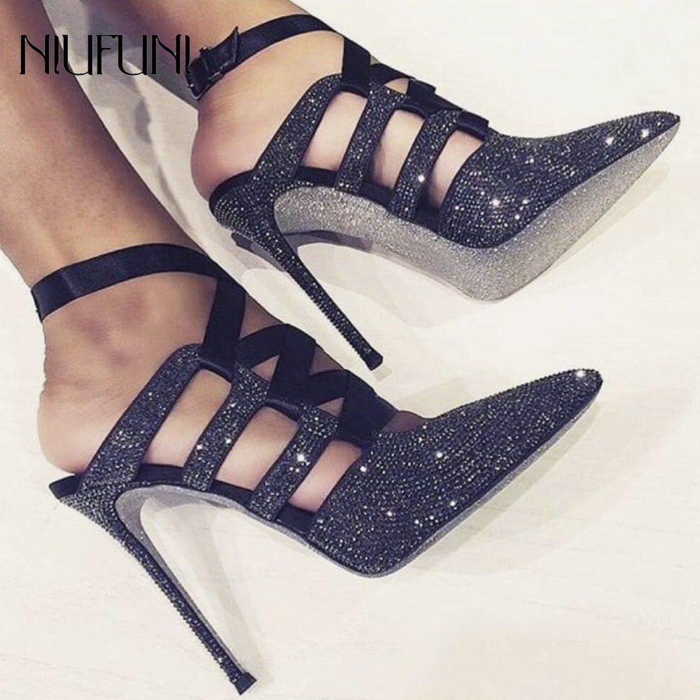 Women's Ankle Strap Heels Sandals Pointed Toe Stiletto Pumps Party Dress Shoes Cross Bandage Buckle Strap Rhinestone High Heel