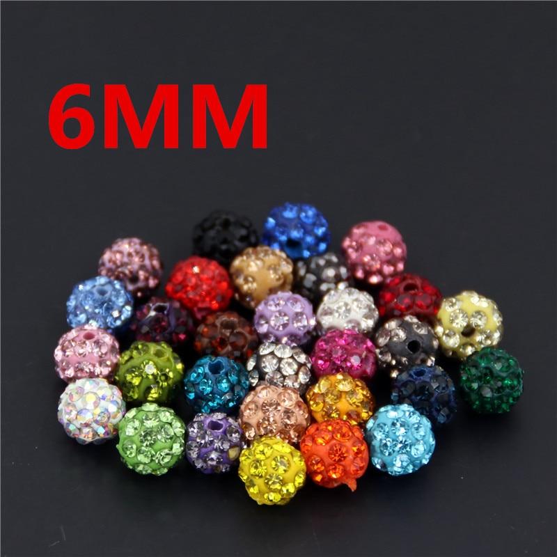 10 Stücke 6mm Polymer Clay Mit Montana Bunte Strass Shamballa Disco Kristall Ball Perlen B06
