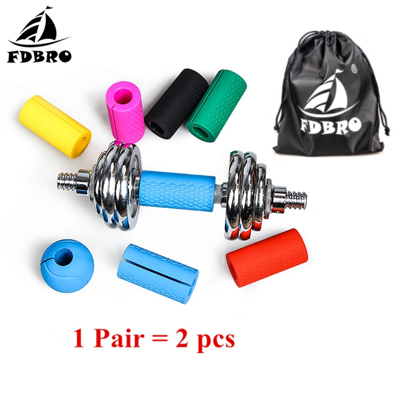 FDBRO 1 Pair Weightlifting Support Fat Grip Barbell Grips Dumbbell Kettlebell Thick Bar Anti Slip Protect Pad Filled Grips|Safety Gloves| |  - title=
