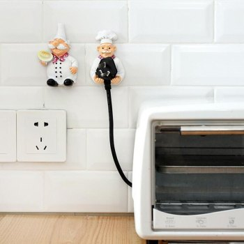 Kitchen Accessories Cartoon Cook Chef Outlet Plug Holder Cord Storage Rack Decorative Wall Shelf Key Holder Shelves Kitchen Hook corta cinturon de seguridad