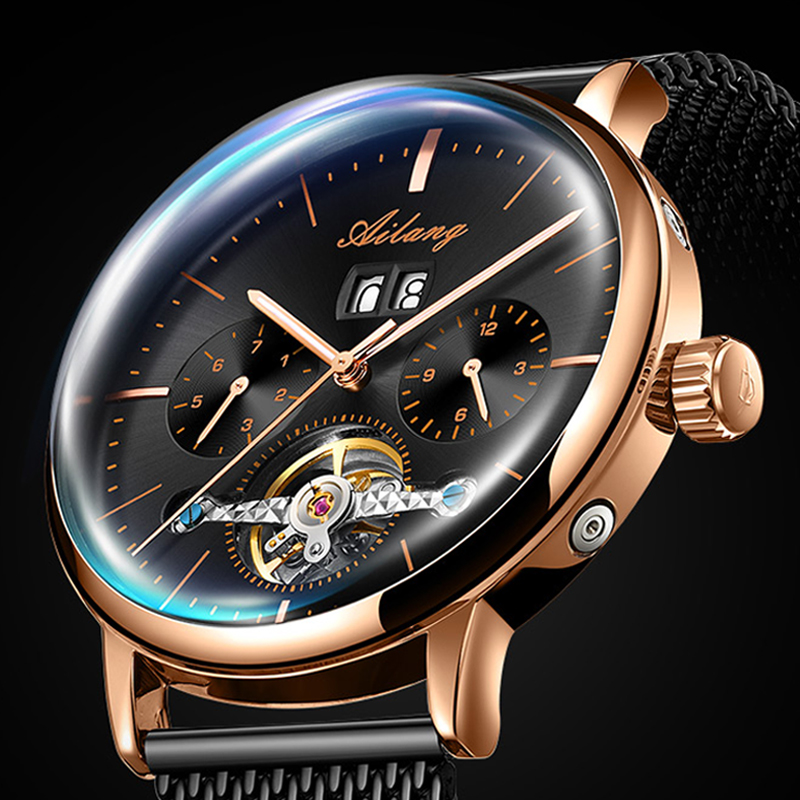 AILANG Classic Black Golden Mechanical Watches Top Brand Luxury Mens Clock Waterproof Small Dial Design Mesh Strap Men WatchAILANG Classic Black Golden Mechanical Watches Top Brand Luxury Mens Clock Waterproof Small Dial Design Mesh Strap Men Watch