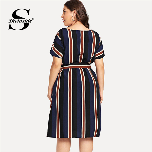 Sheinside Plus Size Colorblock Belt Striped Dress Women A Line Short Sleeve Summer Dresses 2019 Ladies Casual Flared Midi Dress 1