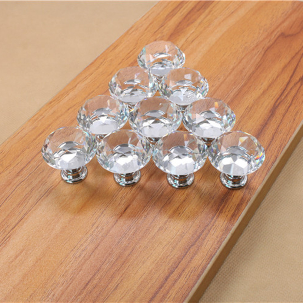 10Pcs 30mm Diamond Plated Shape Crystal Glass Knob Cupboard Drawer Pull Handle New Kitchen Door Knob Accessories Free Shipping american rural style chrome crystal handle for drawer cupboard square diamond knob high grade pull for furniture free shipping