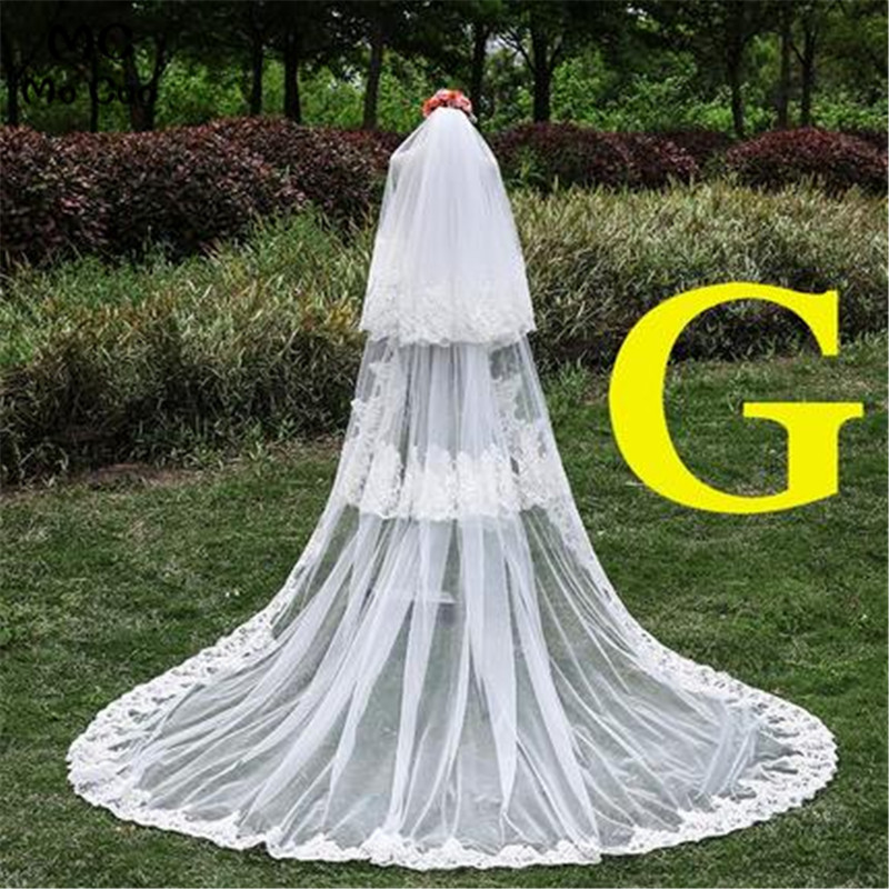 Styles Of Wedding Veils: G Style 3 Layers White Ivory Cathedral Wedding Veils 300