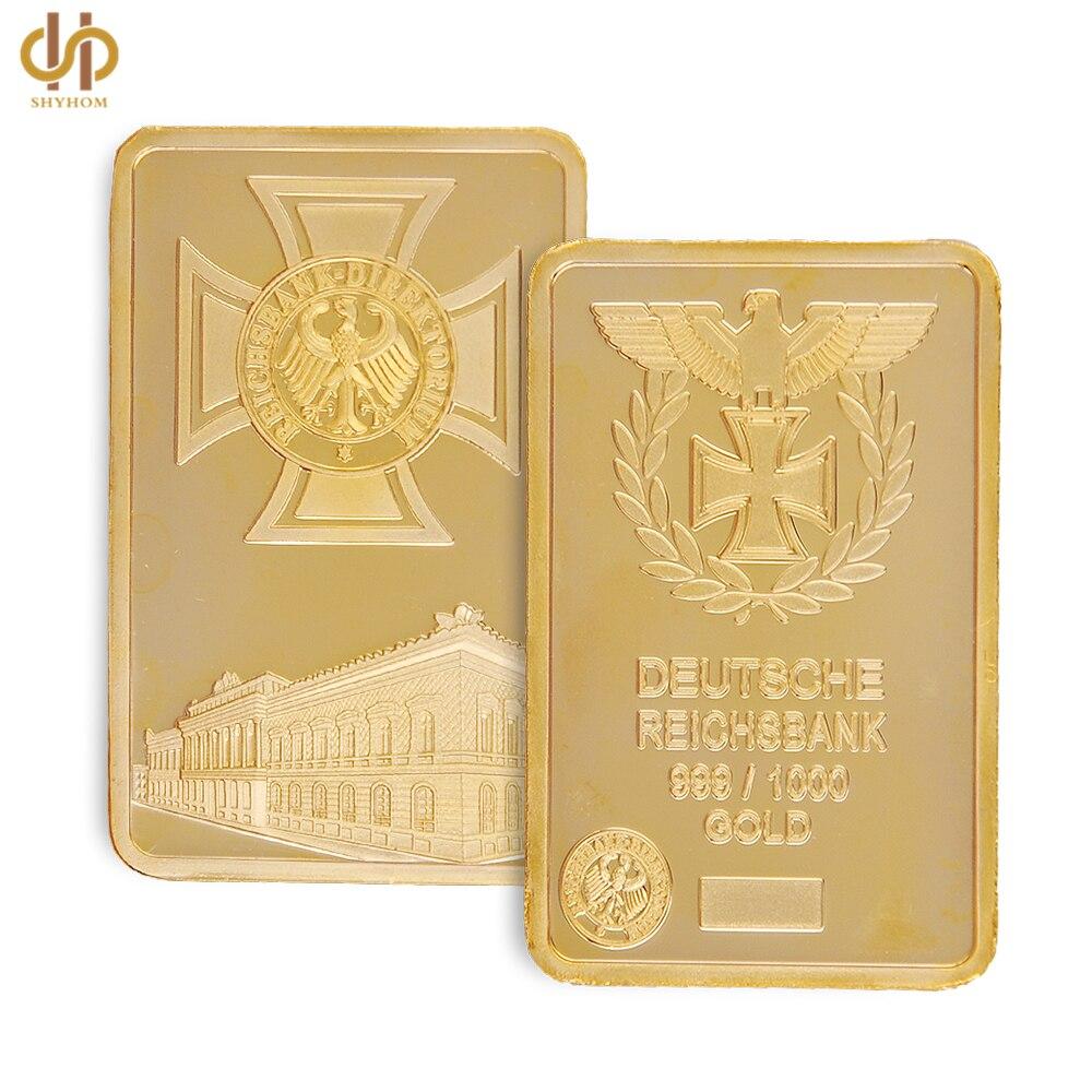 24k German Eagle Golden Beauty Bar 1 Ounce Deutsche Iron Cross Bar 1 OZ Germany 999 Gold Plated Souvenir Coin