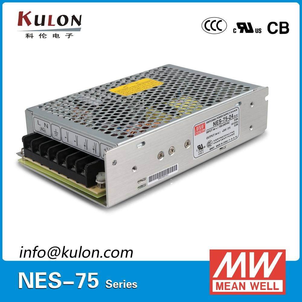 Original Meanwell NES-75-24 Single output 75W 24V 3.2A MEAN WELL Power Supply NES-75 CB UL EMC CCC original mean well nes 350 12 ac to dc single output 350w 29a 12v meanwell power supply nes 350