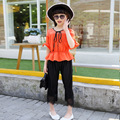 Kids Girls Clothing Sets Summer 2016 Girls Blouse Top & Lace Capri Pants 2 Pieces Suits Set Children Clothes Pink Orange Outfits