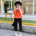 Kids Girls Clothing Sets Summer 2016 Girls Blouse Top & Lace Capri Pants 2 Pieces Suits Set Children Clothes Pink Orange Outfits